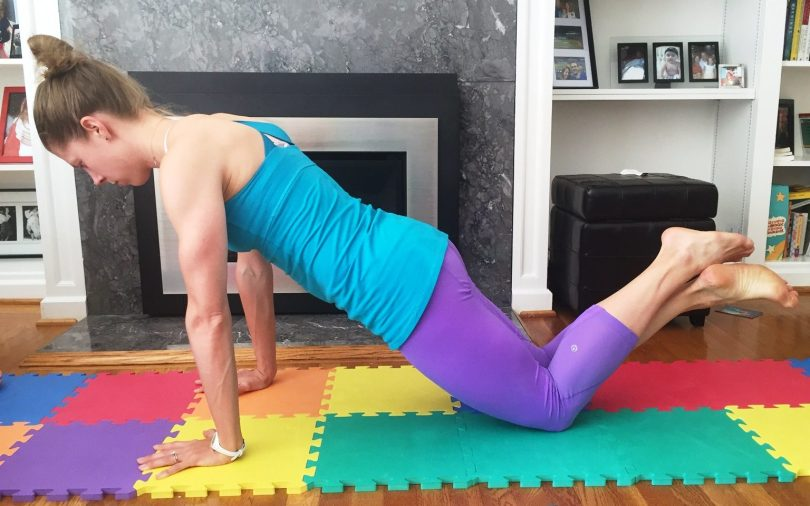 Plank 3: For a lower modification, try a plank on your hands (or forearms) and knees. Just be sure to put your weight ABOVE your knee cap. This ensures you don't put too much pressure on the kneecap and displace it. I've done that before and it hurts!