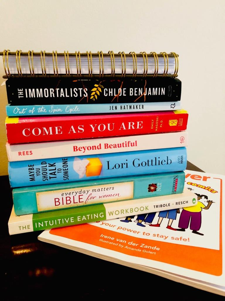 Books on nightstand