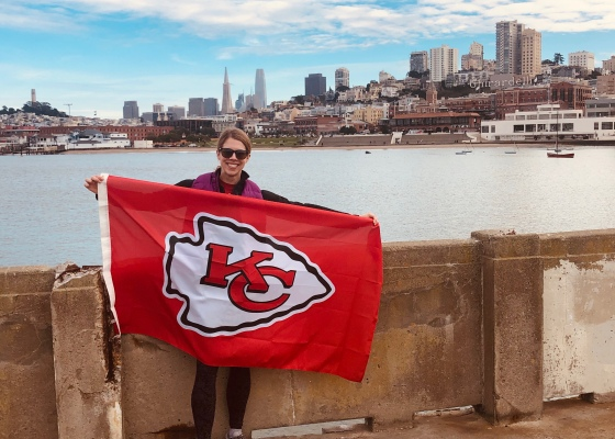 Chiefs flag in front of San Francisco